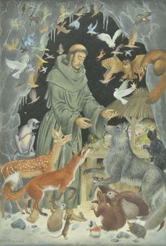 """A SAINT FOR ALL SEASONS """"If you have men who will exclude any of God's creatures from the shelter of compassion and pity, you will have men who will deal likewise with their fellow men."""" St Francis of Assisi depicted by Pauline Baynes Catholic Mass Readings, Catholic Art, Catholic Saints, Patron Saints, Roman Catholic, Religious Images, Religious Art, Religious Icons, Tag Art"""
