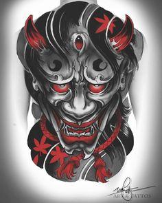 japanese tattoos for women Oni Tattoo, Hannya Maske Tattoo, Hanya Tattoo, Demon Tattoo, Samurai Tattoo, Japanese Mask Tattoo, Japanese Sleeve Tattoos, Japan Tattoo Design, Tattoo Design Drawings