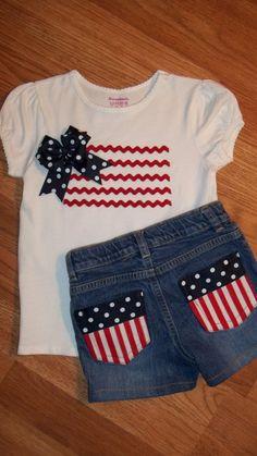 Girls 4th of July American Flag T-Shirt and Shorts. $34.99, via Etsy.