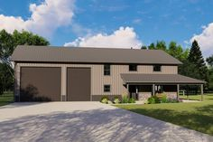 3-Bed Barndominium with Office and Oversized Garage Doors - 135045GRA | Architectural Designs - House Plans Pole Barn House Plans, Pole Barn Homes, Shop House Plans, Best House Plans, Pole Barns, Barn Style Homes, Barn Plans, Metal Building Homes, Building A House