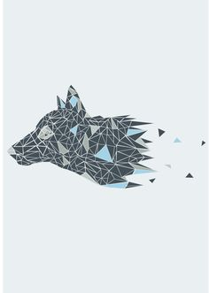 geometric wolf - winter is coming.