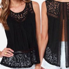 Sleeve less back cut out lace black tank Sleeve less back cut out lace black tank top. Size small. It runs very true to size. Length is 22 inches. Bust is about 26 inches. Tops Tank Tops