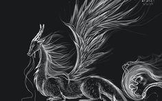 siyah beyaz ejderha vektör
