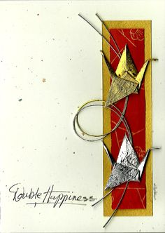 Origami Wedding Card Happiness Summer Gift by LittleBirdDePapel, $12.00