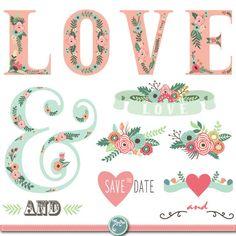 Wedding Clipart pack WEDDING FLORA digital clip by YenzArtHaut