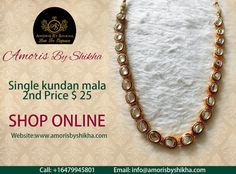We Have An Amazing Collection Of Kundan Mala In Different Patterns, Designs And Price Ranges Available At Amoris By Shikha.  To Place Your Order Contact: Call: +1 6479945801 Email: info@amorisbyshikha.com  web: http://amorisbyshikha.com/ #LoveForElegance #LoveForJewellery