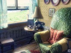 cartoon digital 3d room interior furniture anime cool game scenery indoor into decoration