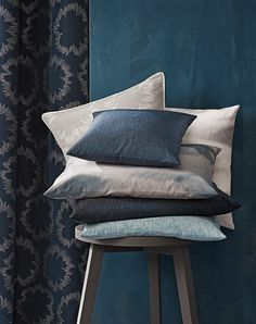 Collection INTO THE BLUE by SAHCO is devoted to indigo - These modern fabrics with their clear design language come in selected shades of blue.