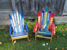 Adirondack chairs   The shape of skis make them the perfect raw material for Adirondack chair. In addition to the 3 pairs of skied out skis needed to make a upcycled ski chair, some pieces of wood are needed when building the base.