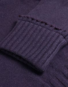 Armani Jeans Purple Frill Edged Polo Neck Jumper