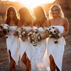 When the bridesmaids look effortlessly gorgeous with the bride. ✨✨🌙Jasmin… When the bridesmaids look effortlessly gorgeous with the bride. ✨✨🌙Jasmin and co have created the ultimate for her Gown✨✨… Beach Wedding Bridesmaids, Beach Bridesmaid Dresses, Bridal Party Dresses, Wedding Gowns, Beach Dresses, Affordable Bridesmaid Dresses, Bridal Gown, Wedding Ceremony, Perfect Wedding