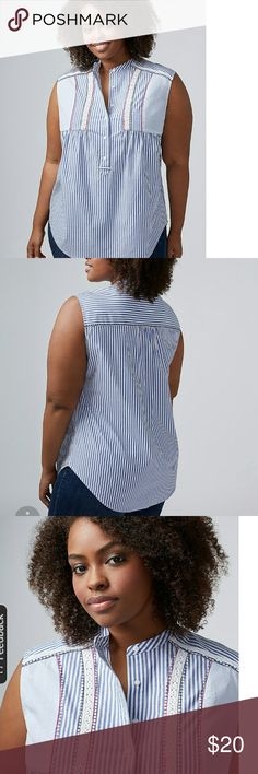 Lane Bryant Stripped Shirt Size 18 Embroidered Stripped Top in Color Cool Blue, nice top, I don't like how it looked on me, Brand New, Tags Still Attached. Lane Bryant Tops Blouses