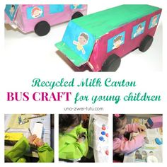 Bus craft for toddlers - super cute milk carton upcycle! Would look great in yellow to as a School Bus craft!