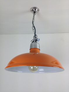 The originals of these classic vintage factory steel pendant lights have disappeared, so we've had them precisely copied, in the same spun steel with aluminium gallery. We offer these lights in various colours - please browse our Etsy shop - at £69.    If you want a personalised custom colour, we have a range of more than 115 from which to choose, in vibrant gloss for a hard-wearing and stunning finish. Each light costs just £16 to professionally spray.    Each light comes wired with grey…