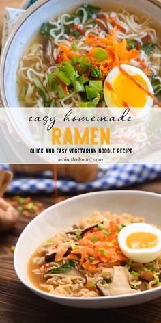 Vegetarian Recipes Videos, Asian Recipes, Cooking Recipes, Easy Ramen Recipes, Best Ramen Recipe, Easy Vegetarian Meals, Vegetarian Noodle Soup, Vegetarian Ramen Recipe, Soup Recipes