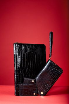 VIKTOR  Black crocodile card holder large   Black crocodile card holder mini   Black men's wallet   Black crocodile document folder