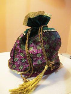 Med. Pink & Green Motif design, Brocade, Ethnic Evening Bag/Potli https://www.facebook.com/beadsaga