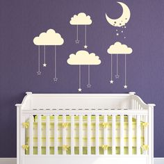 Stars Moon Wall Sticker Cloud Wall Decal Baby Nursery Home Decor