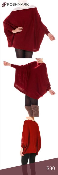 Wine Knitted Poncho Basic Style Knitted Poncho/ Sweater! Acrylic ! One size Sweaters Shrugs & Ponchos