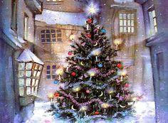 1 Hour Of Traditional Christmas Music With Beautiful Christmas Scenes - Reprise! Animated Christmas Tree, Christmas Scenes, Noel Christmas, Christmas Music, Vintage Christmas Cards, Christmas Pictures, Christmas Lights, Christmas Decorations, Christmas Screensavers