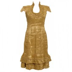 Alexander Mcqueen Gold Dress | From a collection of rare vintage evening dresses at https://www.1stdibs.com/fashion/clothing/evening-dresses/