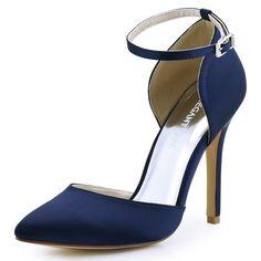 ElegantPark HC1602 Women's Pointed Toe High Heel Ankle Strap D`orsay Satin  Dress Pumps *