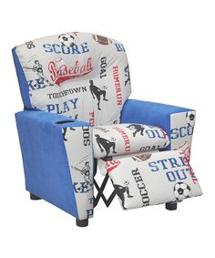 Look at this Blue Sports Kid's Recliner on #zulily today!