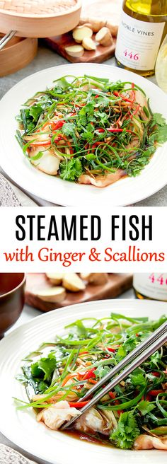 Steamed Fish with Ginger and Scallions - Recipes - Fish Recipes Chinese Steamed Fish, Chinese Food, Chinese Fish Cakes Recipe, Chipotle, Healthy Dishes, Healthy Recipes, Steamed Fish Recipes Healthy, Steamed Food, Steamed Tilapia