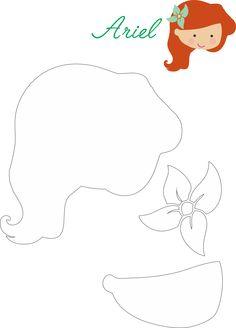 DYI :: Ariel Felt - Molde Ariel - Pequena Sereia - Feltro #disneyprincess #feltro #Felt #DIY #Party #Ariel
