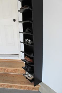 Here are some garage and basement organization ideas that actually ADD SPACE. DIY shelving hacks, garden tool storage, and under-stair storage tips. Garage Shoe Rack, Diy Shoe Rack, Diy Garage Storage, Garden Tool Storage, Stair Storage, Garage Organization, Organization Ideas, Shoe Racks, Workshop Organization