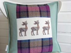 Spring Crocus - Scottish linen & merino wool check cushion, www.fiadh.co.uk