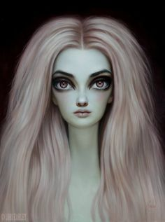 Lori Earley paints large scale alien-featured oils of beautiful women. Her color and blending give many of her pieces a porcelain look. The Pink Sheep