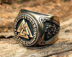 Bronze Vegvisir Futhark Runen Wikinger Kompass magische