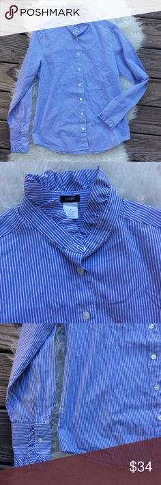 "J. Crew Ruffle Collar Button Down Shirt Excellent condition J. Crew blue and white stripe button down shirt. Ruffle collar & cuffs. Size 8. 100% cotton. Color is lighter than appears in pictures. Shoulder seam to shoulder seam across the back 15"", bust 39"", length 26.5"", sleeve length 25"". No trades, offers welcome. J. Crew Tops Button Down Shirts"