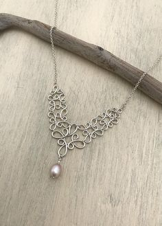 Sterling Silver Filigree Necklace with Freshwater Pearl