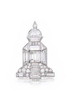 Platinum and Diamond Temple Brooch, Cartier, France - circa 1930.