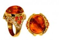 Crevoshay 18K Yellow Gold Cabochon Fire #Opal and #Diamond #Ring (Opal 15.15ct, Diamond 0.95ct, Opal 1.07ct, 16.87 grams)