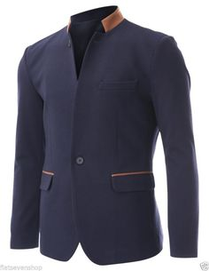 256644da700 FLATSEVEN Mens Casual Slim 2 Tone Mandarin Blazer Jacket Pocket Flaps  (BJ501)