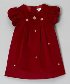 Look what I found on #zulily! Red Snowflake Angel-Sleeve Dress - Infant & Toddler #zulilyfinds