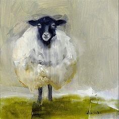 "Sheepish by Elsa Sroka Oil ~ 8"" x 8"""