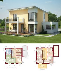 EINFAMILIENHAUS MIT PULTDACH   Haus Evolution 136 V8 Bien Zenker    Fertighaus Modern Grundriss Offen Mit