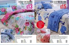 Shabby Chic Duvet Set comes in 3 Colours Blue Multi Pink Single £15 Double £20 King £25