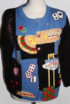 Storybook Knits Las Vegas Sweater Small Gambling Lady Luck Womens Cardigan Cards #StorybookKnits #Cardigan