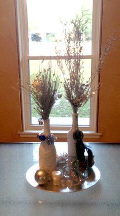My version of the epsom salt wine bottle centerpiece. :) for Christmas