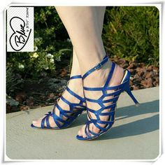 """Blue by Betsey Johnson Fancy sandals heels. Dressy special occasion heeled sandals in royal blue. Sleek satin upper with sparkling straps. Signature blue sole, lightly cushioned footbed.  Details: heel 3-1/4"""", satin with righstones upper, adjustable buckle clouser along with a second back strap with goring, for narrow to medium feet, fits very TTS, comfy.  Please use only ✔OFFER  button for all price negotiations. I'll do a price drop⤵ for you for discounted shipping, if we agree about the…"""