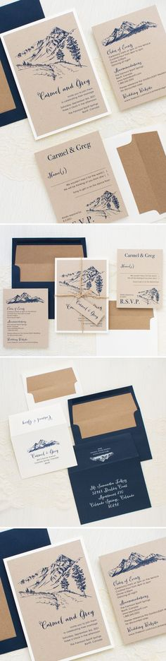 Mountain inspired wedding invitations with warm taupe papers, navy envelopes and taupe twine. Each invite set includes a kraft envelope liner and guest addressing in white ink.