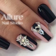 Short, black nail design with clear and crystal rhinestones and black thick line. Beautiful nails by @allure_nail_studio Ugly Duckling Nails page is dedicated to promoting quality, inspirational nails created by International Nail Artists #nailartaddict #nailswag #nailaholic #nailart #nailsofinstagram