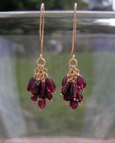 Gold red garnet bead cluster earrings WIre by BellantiJewelry, $58.00