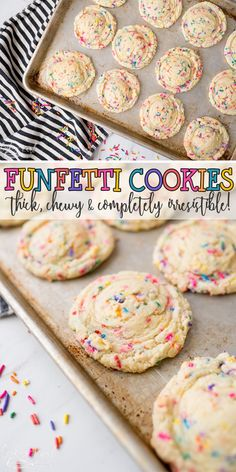 Funfetti Cookies have that classic cake batter, Funfetti flavor that everyone l. Funfetti Cookies have that classic cake batter, Funfetti flavor that everyone loves! This recipe use the cake m Funfetti Kuchen, Funfetti Cookies, Oreo Cookies, Cake Batter Cookies, Birthday Cake Cookies, Sprinkle Cookies, Cookies With Cake Mix, Confetti Cake Cookies, Health Desserts