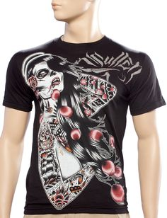 SULLEN LOST GIRL GUYS T SHIRT  The Sullen Lost Girl tee features original artwork from artist Tyler Bredeweg! This short sleeve guys t-shirt has a tattooed vampire gal printed on the front in shades of white, gray, & red.  $25.00